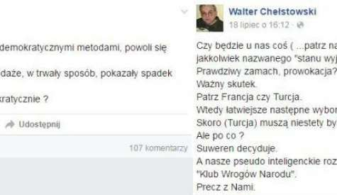 Walter Chełstowski oszalał?